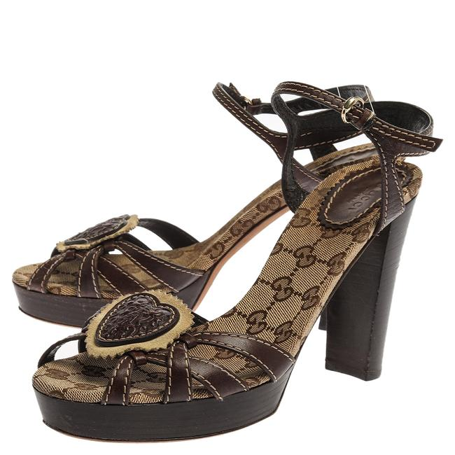 Gucci Hysteria Brown Gg Canvas and Leather Ankle Strap Platform Size 39 Sandals Gucci Hysteria Brown Gg Canvas and Leather Ankle Strap Platform Size 39 Sandals Image 4