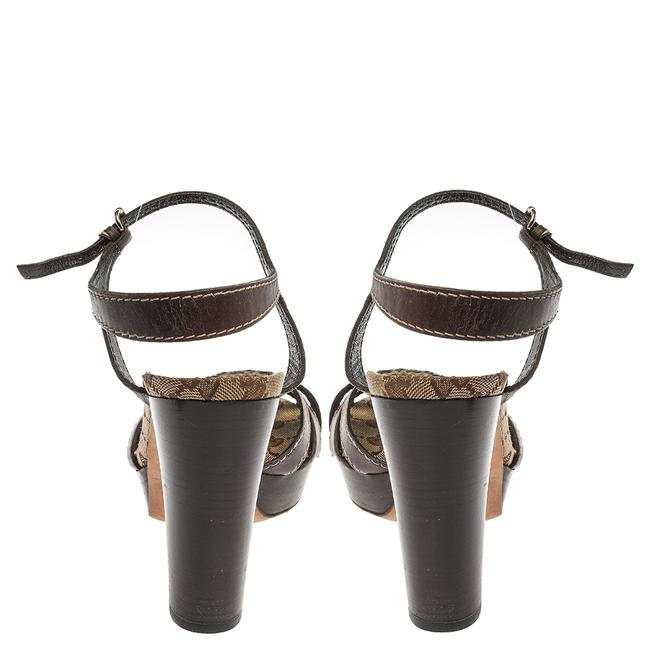 Gucci Hysteria Brown Gg Canvas and Leather Ankle Strap Platform Size 39 Sandals Gucci Hysteria Brown Gg Canvas and Leather Ankle Strap Platform Size 39 Sandals Image 5