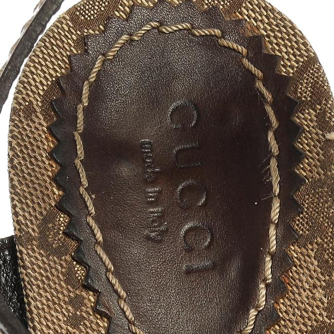 Gucci Hysteria Brown Gg Canvas and Leather Ankle Strap Platform Size 39 Sandals Gucci Hysteria Brown Gg Canvas and Leather Ankle Strap Platform Size 39 Sandals Image 7