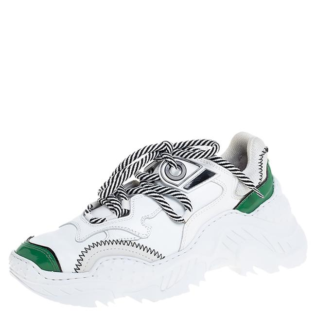Item - White/Green Leather and Mesh Billy Sneakers Size 36 Athletic