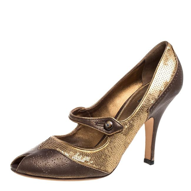 Item - Gold/Brown Sequin and Leather Peep Size 41 Pumps