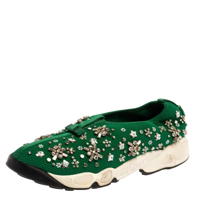 Item - Green Embellished Mesh Fusion Low Top Sneakers 38.5 Athletic