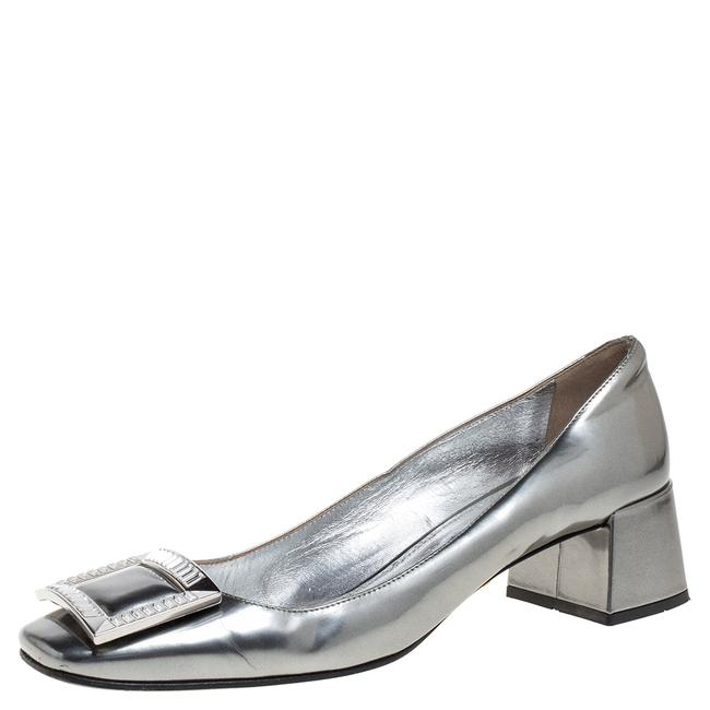 Item - Silver Glossy Leather Crystal Buckle Block Size 39 Pumps