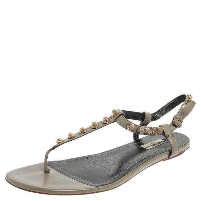 Item - Grey Studded Leather Arena Thong Flat Size 41 Sandals