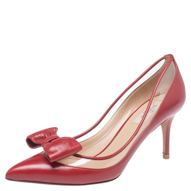 Valentino Red Leather and Pvc Dollybow Pointed Size 39 Pumps Valentino Red Leather and Pvc Dollybow Pointed Size 39 Pumps Image 1