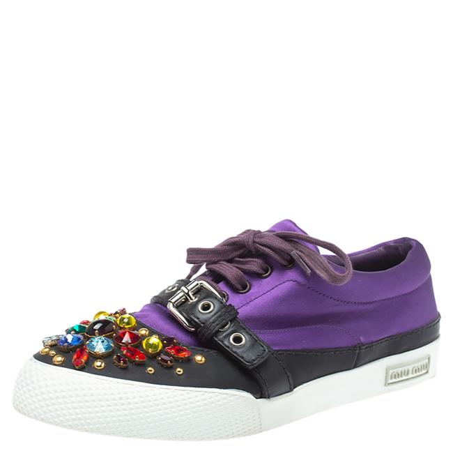 Item - Purple Satin Crystal and Stud Cap Toe Embellished Buckle Detail Sneakers Size 40 Athletic