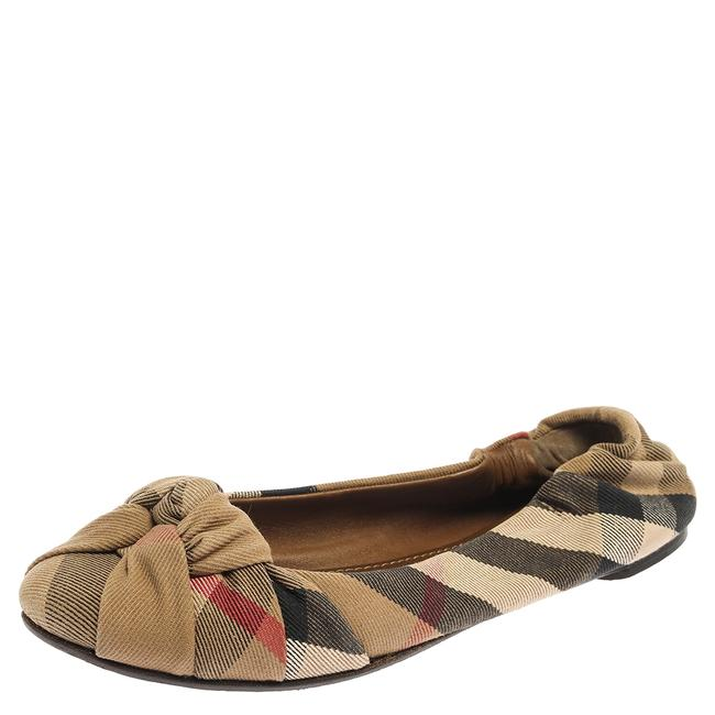 Item - Beige Canvas Nova Check Knotted Bow Ballet Size 38 Flats