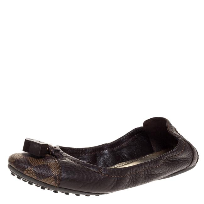 Item - Brown Leather Canvas Scrunch Ballet Size 38 Flats
