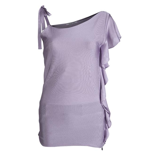 Item - Lavender Knit Ruffle Detail Ruched One Shoulder Blouse