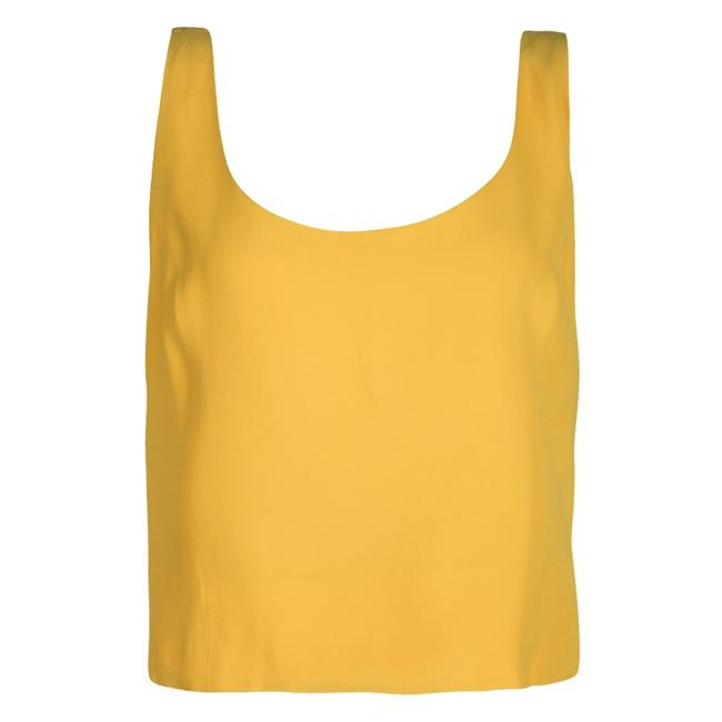 Item - L Couture Yellow Fitted Sleeveless Crop Top Blouse