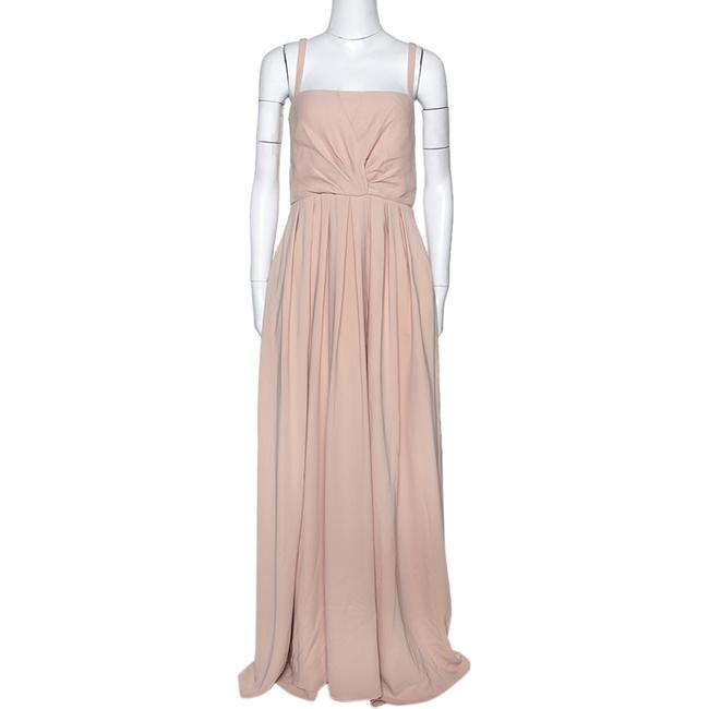 Item - Beige Silk Pleated Sleeveless Casual Maxi Dress