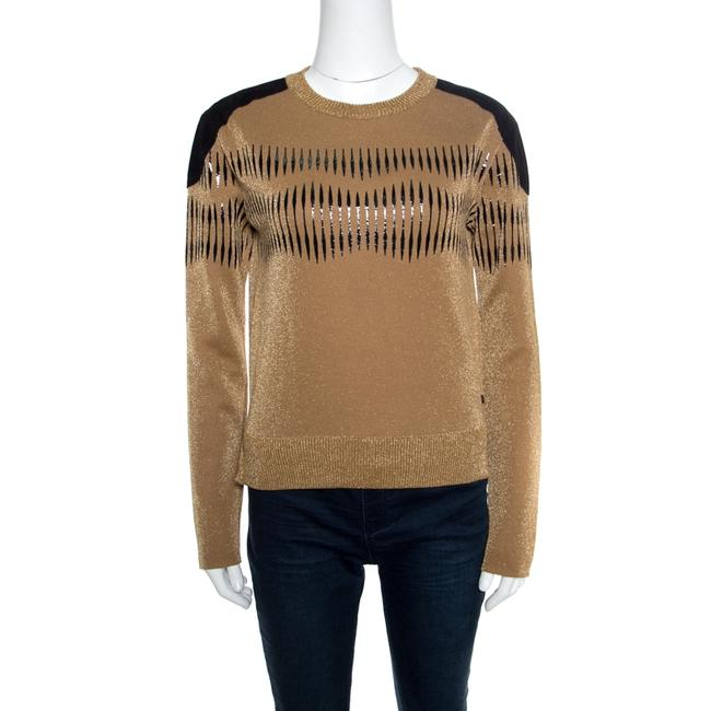 Item - XS Brown Lurex Knit Contrast Suede Shoulder Patch Detail Cropped Sweater/Pullover