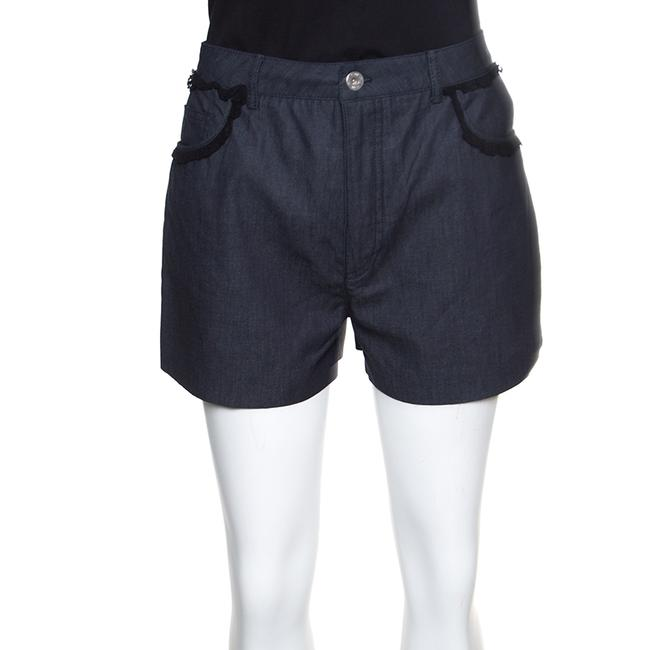Item - Grey Cotton Chambray Contrast Lace Trim High Waist Shorts