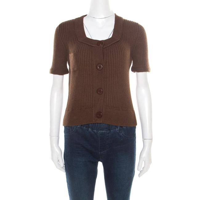 Item - Brown Cotton and Linen Rib Knit Crop Top M Blouse