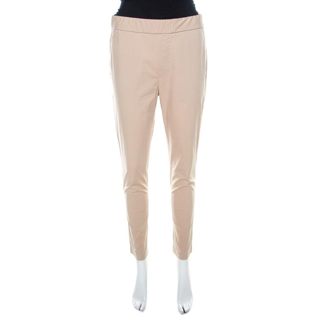 Item - Beige Stretch Cotton Elasticized Waist Tapered Trousers S Pants