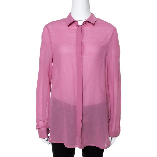 Item - Pink Cotton & Silk Crepe Button Front Shirt M Blouse
