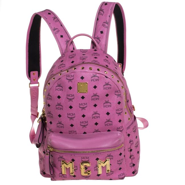 Item - Pink Visetos Leather Large Studs Stark Backpack