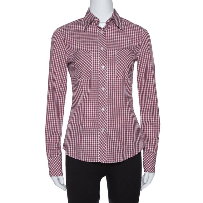 Item - Red Checked Cotton Long Sleeve Shirt S Blouse