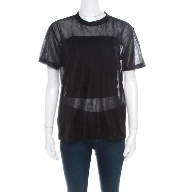 Item - XS Black Knit Mesh Sheer Sleeve Top Blouse