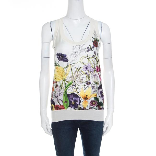 Item - White Floral Printed Silk Paneled Knit Sleeveless Top M Blouse