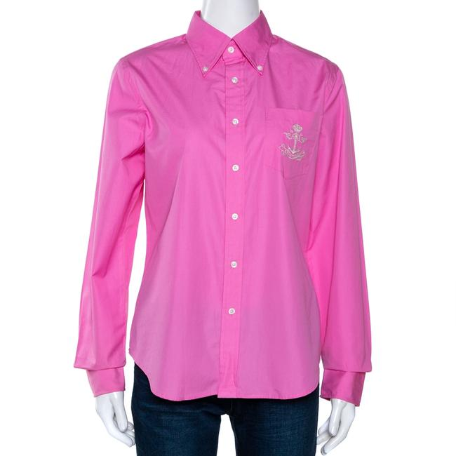 Item - L Pink Cotton Button Down Fitted Shirt Blouse