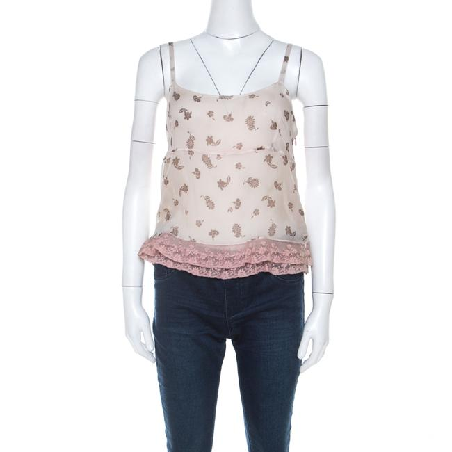 Item - Pale Pink Silk Chiffon and Ruffled Lace Detail Camisole Top M Blouse