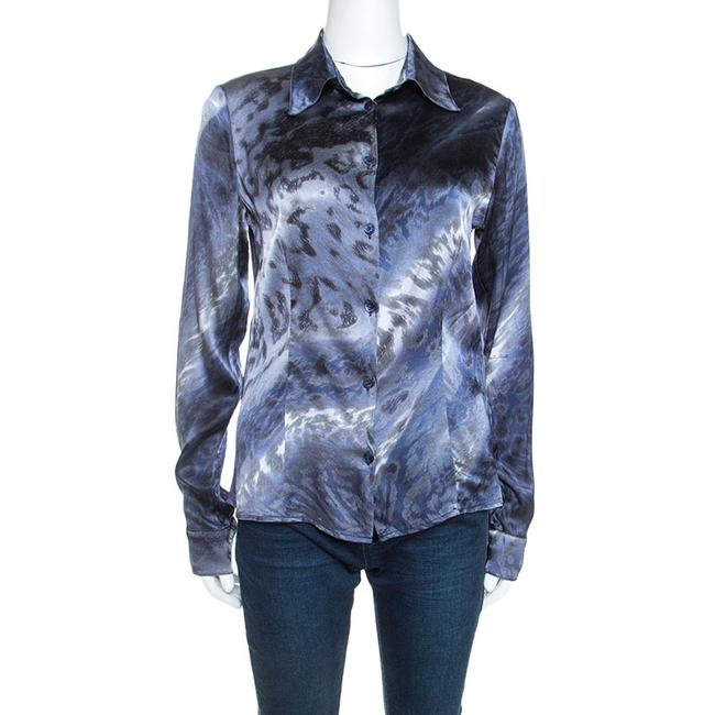 Item - By Roberto Multicolor Printed Stretch Silk Satin Shirt M Blouse