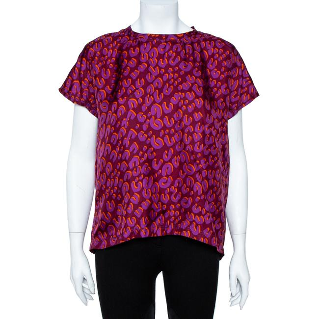 Item - Bordeaux Leopard Print Silk Blouse