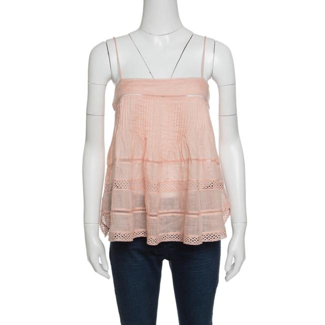 Item - Peach Pintucked Ramie Lace Trim Odelle Camisole M Blouse