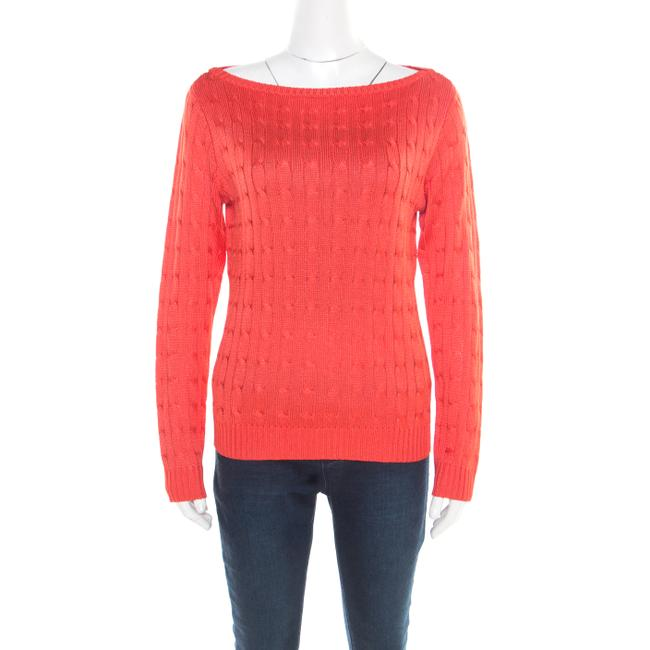 Item - L Coral Pink Silk Cable Knit Bateau Neck Sweater/Pullover