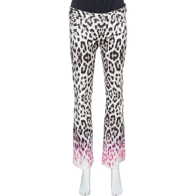 Item - Ombre Brown/Pink Animal Print Cotton Flare Leg Jeans S Pants