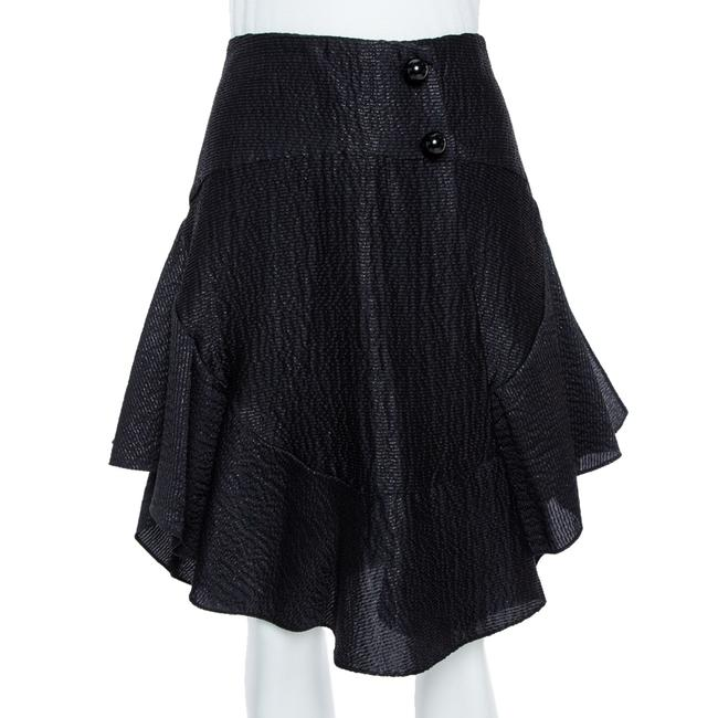 Chloé Black Lurex Seersucker Silk Ruffle Detail Skirt Chloé Black Lurex Seersucker Silk Ruffle Detail Skirt Image 1