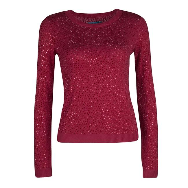 Item - XS Red Knit Hot Fix Crystal Embellished Cropped Sweater/Pullover