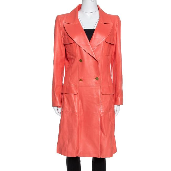 Item - L Coral Pink Leather Double Breasted Trench Coat Jacket