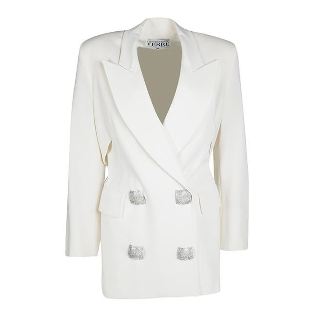 Item - Cream Cutout Back Detail and Maxi Skirt Suit S Blazer
