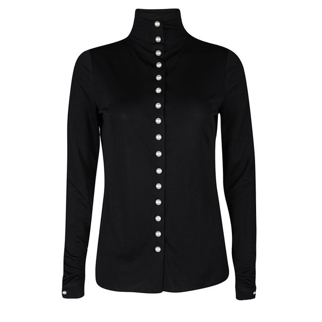 Item - Pearl Embellished Button Detail Long Sleeve Blouse