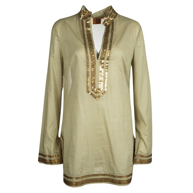 Item - Green Cotton Sequin Embellished Long Sleeve Tunic