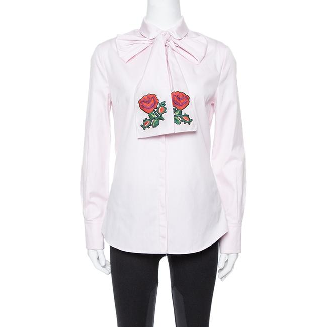 Item - Pink Cotton Embroidered Oxford Scarf Shirt M Blouse