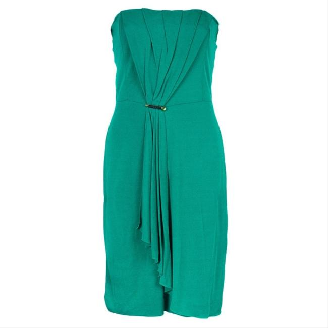 Item - Green Strapless Gathered M Cocktail Dress