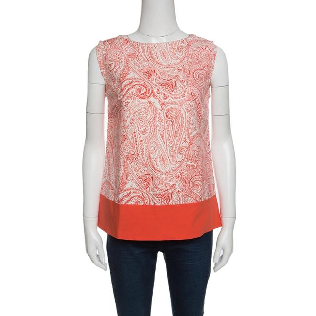 Item - Orange and White Paisley Print Sleeveless Blouse