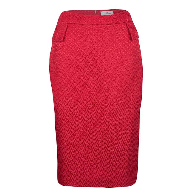 Item - Red Textured Pencil Skirt
