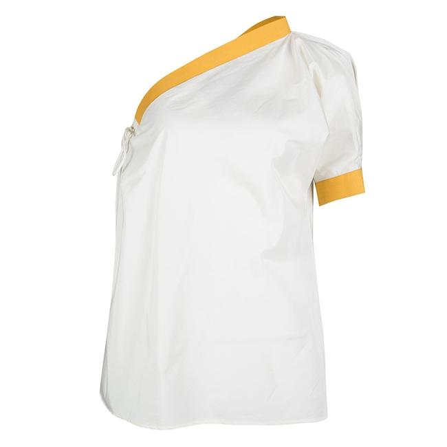 Item - Cream and Yellow Tie Detail One Shoulder Blouse