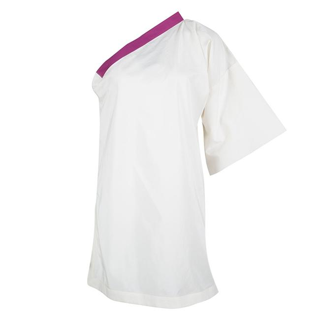 Item - Cream and Purple One Shoulder Top M Tunic