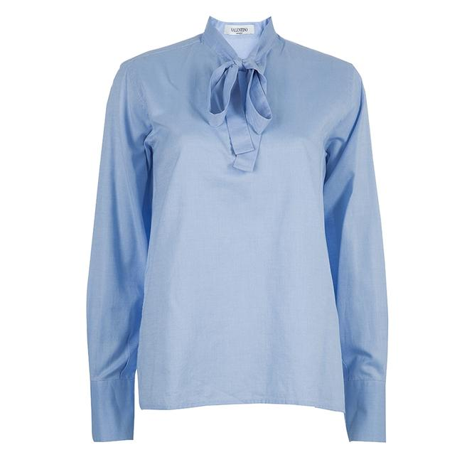 Item - Blue Tie Neck Long Sleeve Shirt M Blouse