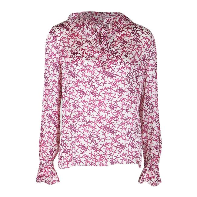 Item - White and Pink Printed Silk Long Sleeve Blouse