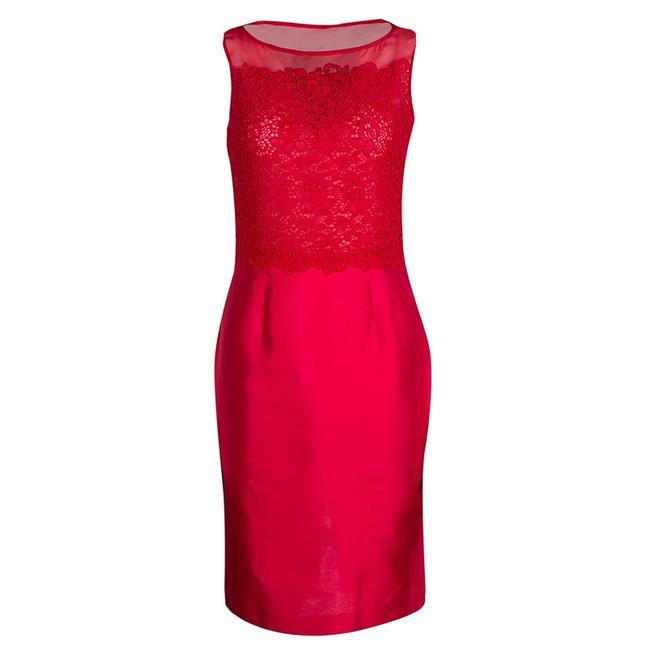 Item - Red Lace and Organza Sleeveless Sheath