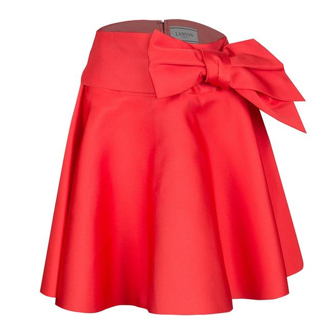 Item - Red Sash Bow Detail Flared Circular Skirt S Belt