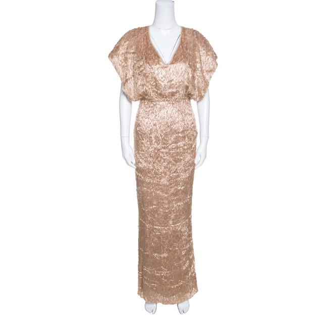 Item - Brown Faux Feather Textured Casual Maxi Dress