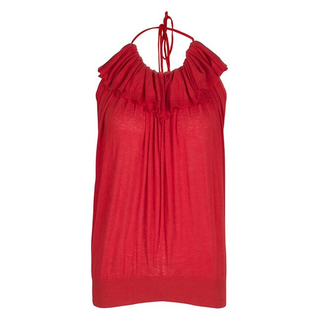 Item - Red Knit Ruffle Detail Halter Blouse