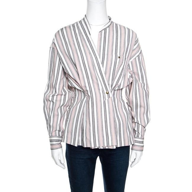 Item - Pink and White Striped Cotton Jacquard Wrap Front Silvia Shirt M Blouse